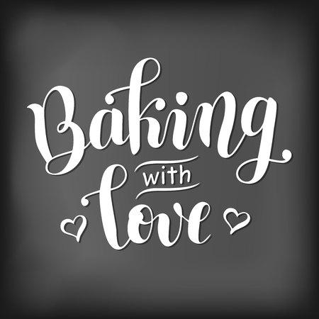 Moderne kalligrafie letters van een hartvormige krijt letters op een schoolbord voor decoratie, poster, kookboek, bakkerij, café, receptenboek, receptenkaart.