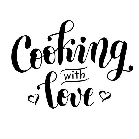 Handgeschreven moderne kalligrafie belettering van koken met liefde in zwart versierd met harten geïsoleerd op een witte achtergrond voor decoratie, logo, poster, kookboek, restaurant, café, receptenboek