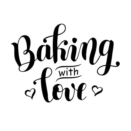 Handwritten calligraphy lettering of Baking with love decorated with hearts in black isolated on white background for decoration, bakery poster, cookbook, bakery, cafe Ilustracja