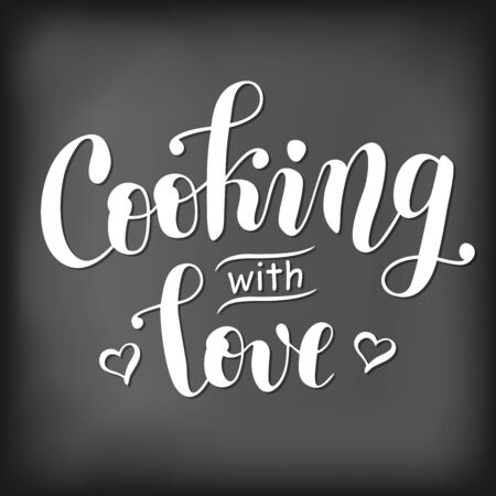 Modern handwritten calligraphy lettering of Cooking with love decorated with hearts stylized as chalk lettering on blackboard for decoration.