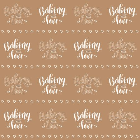 Seamless pattern with calligraphy lettering of Baking with love and lines of hearts in checkerboard in white on brown background for decoration, wrapping paper, packaging, background