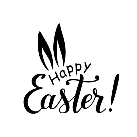 Modern hand drawn calligraphy lettering of Happy Easter in black, isolated on white background. Decorated with ears of hare for decoration, poster, greeting card, postcard, sticker.