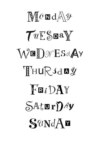 Hand drawn decorative lettering set of days of the week with different letters in black isolated on white background for calendar, planner, diary, decoration, sticker, poster.