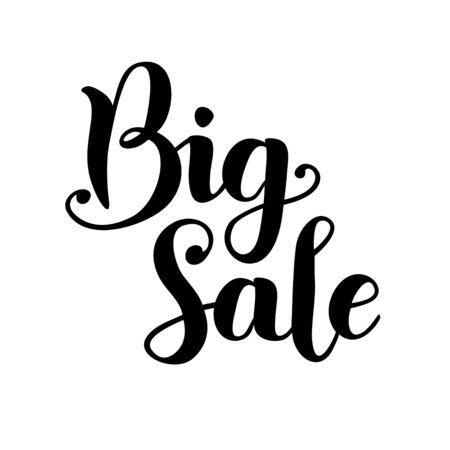 Modern calligraphy lettering of Big sale in black isolated on white background for shop, catalog, tags, sale, market, advertisement, seller and website.