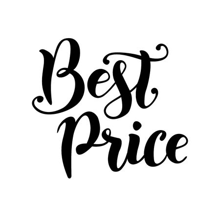 Modern handwritten calligraphy lettering of the Best price in black isolated on white background for shop, catalog, tags, sale, market, advertisement, seller and website.