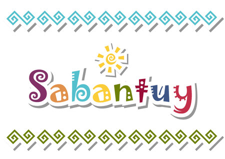 Lettering of Sabantuy with colorful letters and sun in a paper with flowers on a white background decorated with ornament for national bashkir and tatar summer festival