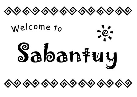 Lettering of Welcome to Sabantuy in black isolated on white background decorated with ornament and sun for national bashkir and tatar summer festival, advertisement, invitation card, poster, decoration