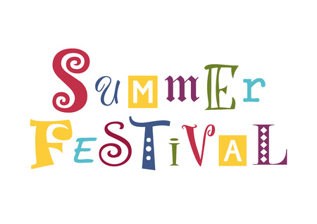 Colorful lettering of Summer festival with different letters isolated on white background.
