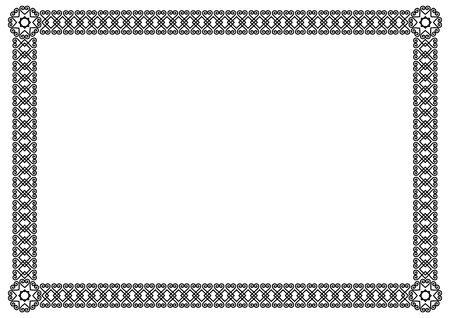 Decorative ornament border or frame in black isolated on white background for photo, picture, book sheet, letter, decoration, inscription, text, document Standard-Bild - 101037104