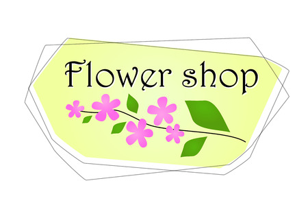 Illustration for Flower shop with pink small flowers and green leaves on yellow background.