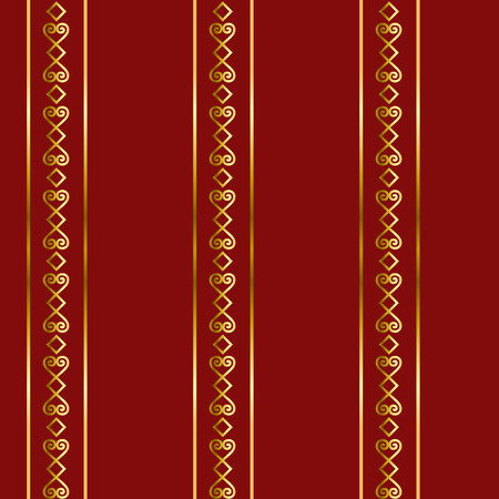 Seamless pattern with golden ornament and lines on red background for decoration, textile, wrapping paper, scrapbooking, decoupage, paper Illustration