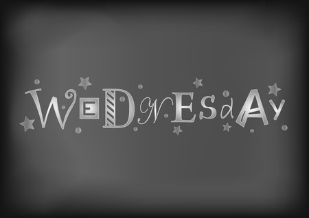 Lettering of Wednesday with different letters in white with stars and dots on blackboard stylized as chalk lettering for decoration, cafe, restaurant, calendar, planner, diary, advertisement Иллюстрация