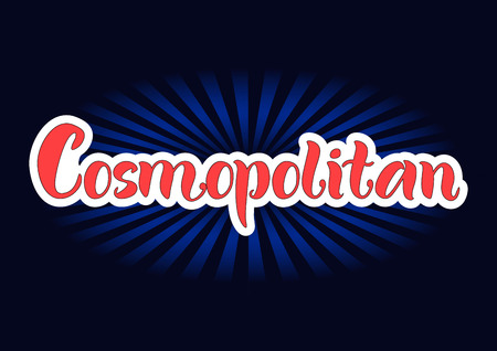 Lettering of Cosmopolitan in red with white outlines on dark background for bar menu, cocktail menu, advertisement, cafe, restaurant