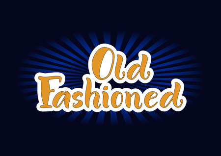Lettering of Old Fashioned in orange with white outlines on dark background for bar menu, cocktail menu, advertisement, cafe, restaurant