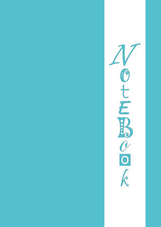 Cover in blue with wide white vertical stripe with lettering of Notebook in blue with different letters and black outlines