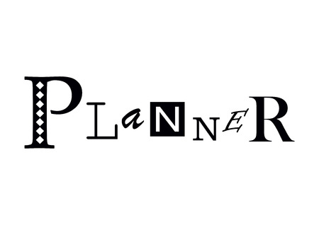 Lettering of Planner with different letters in black isolated on white background for cover of planner, diary, decoration Ilustrace
