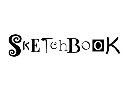 Lettering of Sketchbook with different letters in black isolated on white background for sketchbook cover, decoration 일러스트