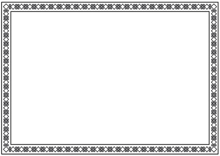 Decorative ornament border or frame in black isolated on white background for photo, picture, book, letter, decoration, inscription, text, document Standard-Bild - 104068287