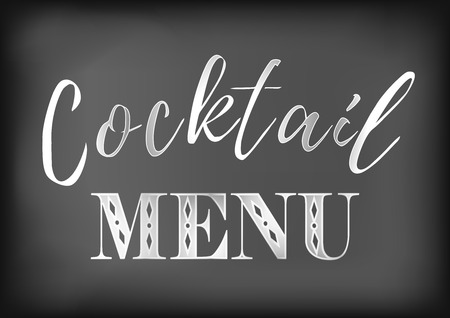 Calligraphy lettering of Cocktail menu in white on dark background stylized as chalk lettering on blackboard
