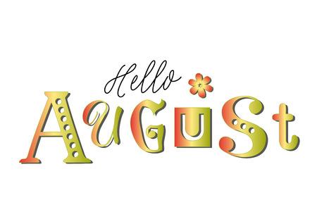 Lettering di Hello su sfondo bianco per calendario, adesivo, decorazione, pianificatore, diario, poster