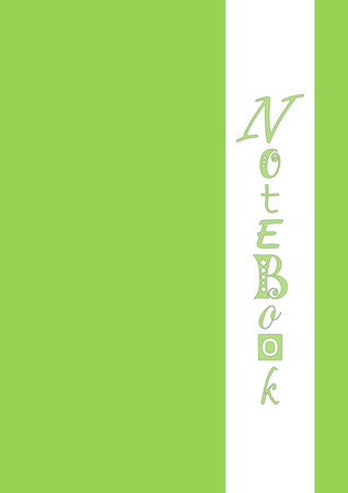 Cover in green with wide white vertical stripe with lettering of Notebook in green with different letters and black outlines. Çizim