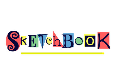 Lettering of Sketchbook with different letters in dark blue on colorful shapes in red, yellow, green, blue on white background for sketchbook cover, decoration.