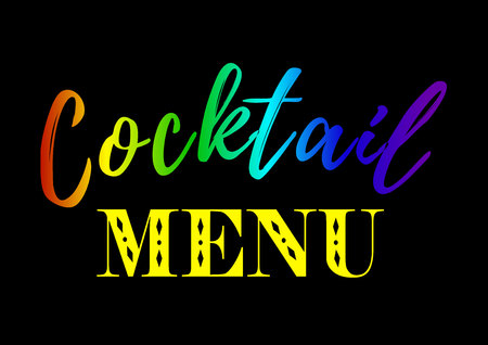 Calligraphy lettering of Cocktail menu in colors of rainbow on black background.