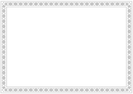 Decorative ornament border or frame in white with black, isolated on white background for photo, picture, book, letter, decoration, inscription, text, document. Standard-Bild - 104621122