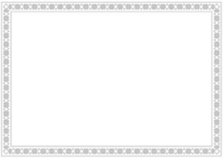 Dekorative Verzierungsgrenze oder Rahmen in Weiß mit Schwarz, lokalisiert auf weißem Hintergrund für Foto, Bild, Buch, Brief, Dekoration, Inschrift, Text, Dokument.