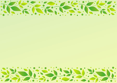 Light green background with decorative stripes alignment with leaves and dots for decoration, scrapbooking paper, sheet of book or notebook, wedding invitation, greeting card, text. Çizim