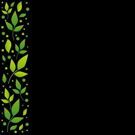 Black background with decorative stripe on the left side with green leaves and dots for decoration, scrapbooking paper, sheet of book or notebook, wedding invitation, greeting card, background.