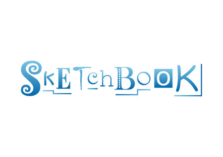 Lettering of Sketchbook with different letters in blue gradient decorated with lines isolated on white background for sketchbook cover, decoration. 일러스트