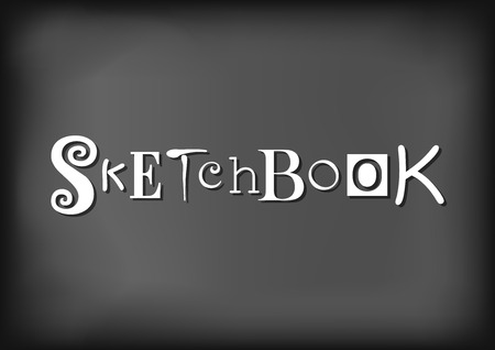 Lettering of Sketchbook with different letters in white on blackboard stylized as chalk lettering for sketchbook cover, decoration.
