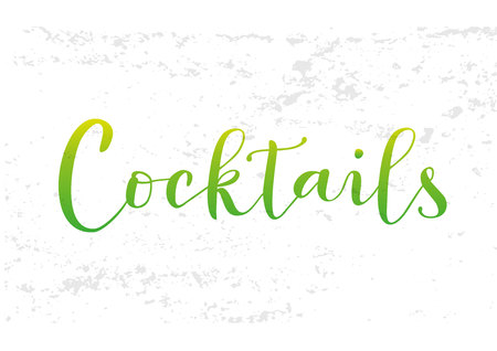 Illustration with modern calligraphy of Cocktails in green yellow gradient with texture on white background for decoration, restaurant, bar and cafe menu, packaging, label, advertising, logo, shop Çizim