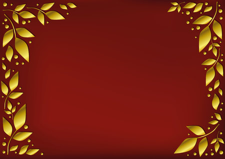 Red background stylized as red velvet decorated with golden leaves and dots for decoration, scrapbooking paper, sheet of book or notebook, wedding invitation, greeting card, text, frame, family tree Illustration