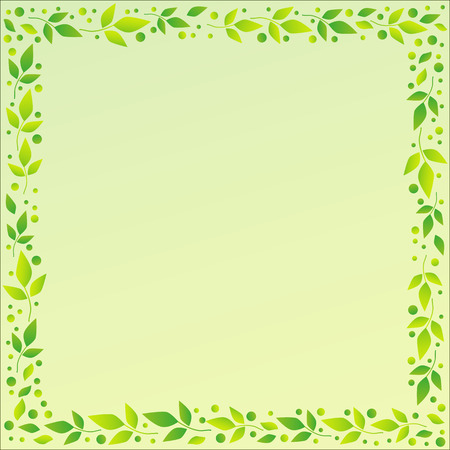 Light green square background with decorative frame of green leaves and dots for decoration, scrapbooking paper, sheet of book or notebook, wedding invitation, greeting card, text, family tree Illustration