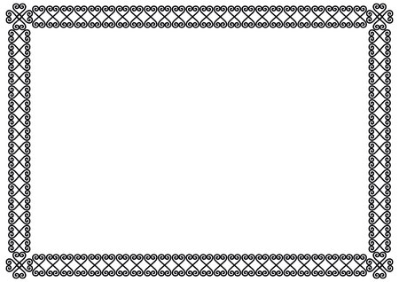 Decorative ornament border or frame in black isolated on white background for photo, picture, book sheet, letter, decoration, inscription, text, document, certificate, diploma