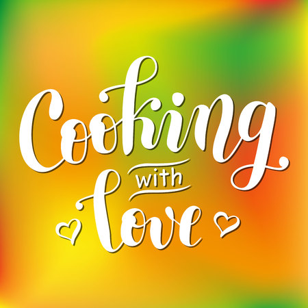 Handwritten calligraphy lettering of Cooking with love in white decorated with hearts on colorful in orange and green background