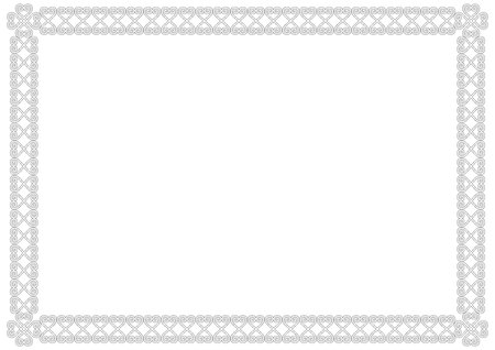 Ornamental border or frame in white with black outlines isolated on white background for photo, picture, sheet of book or notebook, letter,decoration, inscription, text, document, certificate, diploma Ilustracja