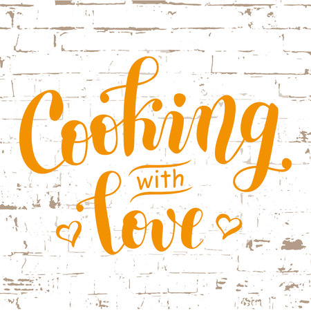 Handwritten calligraphy lettering of Cooking with love in orange decorated with hearts on white brick wall background Stock Illustratie