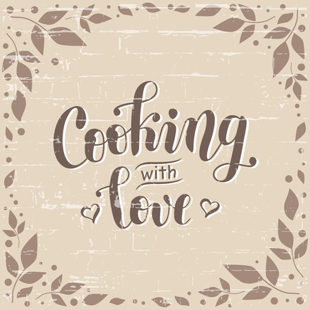 Hand drawn lettering of Cooking with love in brown decorated with hearts on background stylized as a brick wall with leaves and dots for decoration, logo, poster, cookbook, restaurant, cafe, recipe book
