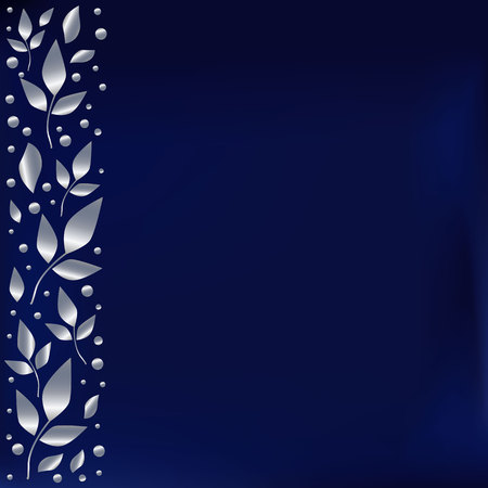 Blue background stylized as blue velvet with decorative stripe on the left side with silver leaves and dots for decoration, scrapbooking,cover of book or notebook,wedding invitation, greeting card  イラスト・ベクター素材