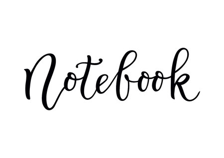 Modern calligraphy of Notebook in black isolated on white background for cover, notebook, decoration, scrapbooking, decoupage