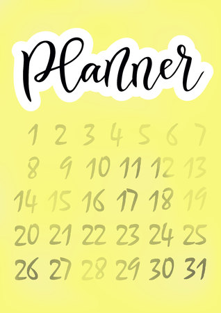Modern calligraphy of Planner in black with white outline on yellow background decorated with numerals for planner, cover, diary, scrapbooking, decoupage, decoration