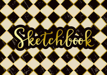 Modern calligraphy of Sketchbook in golden with brown outline on textured chess board in dark brown and ivory white for decoration, sketchbook cover, scrapbooking or decoupage