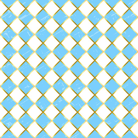Seamless pattern with textured blue and white squares and golden outlines for wrapping paper, textile, decoupage paper, scrapbooking, background, decoration, Oktoberfest, packaging,cover of notebook