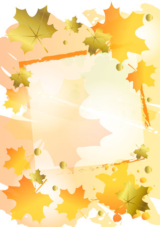 Decorative autumn background in orange decorated with golden and orange maple leaves and frame for photo, decoration, sheet of book or notebook,cover, lettering,scrapbooking,greeting card, start image