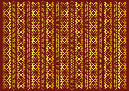 Red background decorated with golden vertical ornament stripes for decoupage paper, scrapbooking, background, decoration, packaging, cover, jewelry store