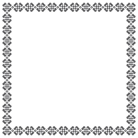 Decorative ornament border or frame in black isolated on white background for photo, picture, book sheet, letter, decoration, inscription, text, document, diploma, certificate, notebook
