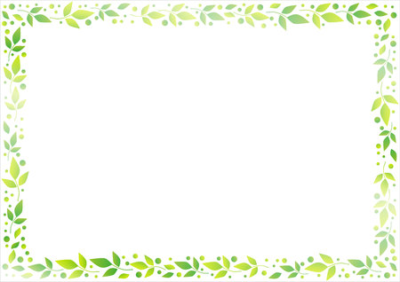 White background with decorative frame of green leaves and dots for decoration, scrapbooking paper, sheet of book or notebook, wedding invitation, greeting card, text, family tree Çizim